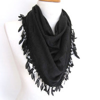 Triangle Black Cotton Scarf With Lace, Women, For Gift, Sale