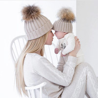 Mommy and me knitting winter beanie cap hat baby bonnet mom kids hats caps Knitted Pompon headwear fleece crochet Beanie BC1022