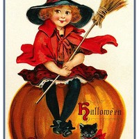 Vintage Halloween Little Witch Sitting on a Pumpkin Black Cat by Frances Brundage Counted Cross Stitch Pattern