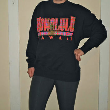 90s Neon Plaid Gold Glitter Hawaii Honolulu Crewneck Sweatshirt Pink & Purple Pullover Sweater