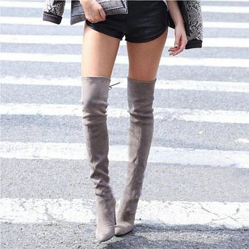 Thigh High Boots Women Suede Over the Knee Boots High Heel Sexy Party Wedding Overknee Boots Fall Winter Shoes