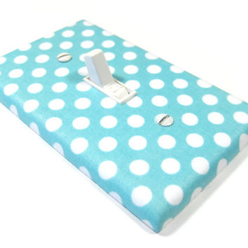 Sky Blue and White Polka Dot Decor Light Switch Cover Wall Art Decoration Switchplate Outlet Dimmer Light Blue 1167