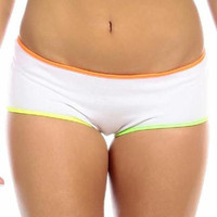 Sexy Neon Trim Low Rise Fourth Dimension Athletic Stretch Comfort Shorts - White/N.Orange/N.Yellow/N.Green