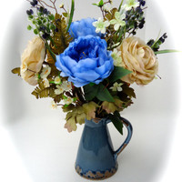 Floral Arrangement with Blue, and Brown Peonies, Cream Flowers in Ceramic Blue Pitcher, Floral Centerpiece
