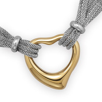 Multistrand Stainless Steel Mesh Necklace with Polished Gold Plated Open Heart