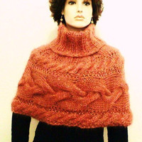 Hand Knit Poncho Cape with cables Italian Mohair by tvkstyle