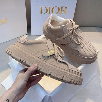 DIOR CD new ladies pure color shell-toe white shoes casual shoes
