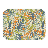 "Julia Grifol ""Summer Tropical Leaves"" Green Orange Place Mat"