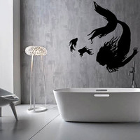 "FREE SHIPPING ""Mermaid & Fish"" Wall Decal Custom Size and Color"