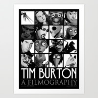 Tim Burton - a filmography Art Print by Martin Woutisseth