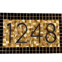 Brown and Black Mosaic Address Sign