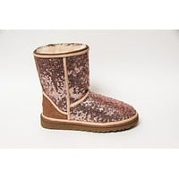 Rose Gold Starlight Sequin Ugg Classic Short II Boots