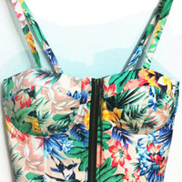 Green Floral Strappy Zippered Crop Top
