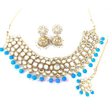 Bold sky blue bead with kundan collar Necklace and jhumka earring set with Maang tikka