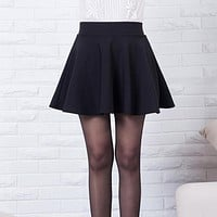 New short skirts womens 2016 new style casual vintage girls skirts for school red pleated mini skater skirt high waist plus size
