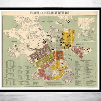 Old Map of Helsinki Finland 1876