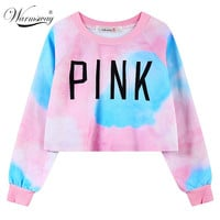 New Style Harajuku Women's Sweatshirts Pink Printed Crop Top Causal Ladies' Pullover Free Shipping WH-044