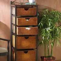Traditional Storage Unit With Five Wicker Baskets Home Furniture Black Frame New