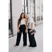 Black Satin High Waisted Pants