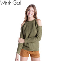 Wink Gal 2015 Wink Gal 2015 Womens Fall Fashion Sexy Off Shoulder Long Sleeve Women Christmas Sweaters and Pullovers