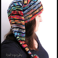 Handknit Long Pointy Rainbow Hat for adults - handmade and colourful - all colours