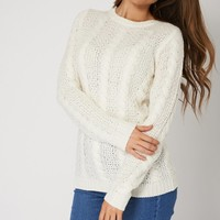 White Patchwork Cable Knit Jumper