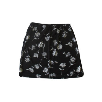 Black Floral Mini Skirt / 1990s Grunge / Summer Goth