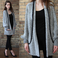 Vintage 80s // marled knit sweater cardigan // black and white  // fuzzy oversized slouchy // small medium