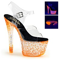 "Crystalize 708PS Clear Ankle Strap Upper Shoe Neon Stones 7"" Platform Heel - Orange"