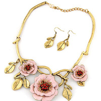 Pink Floral Leaves Vintage Necklace and Earrings Set