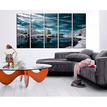 LARGE CANVAS ART White Forest and Blue Lake in Winter Art Canvas Printing W1