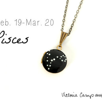 Pisces Zodiac Constellation Necklace on Vintage Tiny Locket - Hand Painted - Brass Chain - February March Birthday, Pisces the Fish