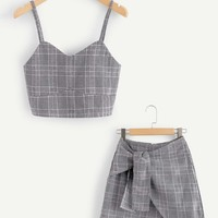 Checked Cami Top With Asymmetrical Hem Skirt