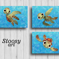 squirt finding nemo poster set of 3 sea turtle wall art nursery decor turtle print
