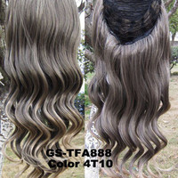 "HOT 3/4 Half Long Curly Wavy Wig Heat Resistant Synthetic Wig Hair 200g 24"" Highlighted Curly Wig Hairpieces with Comb Wig Hair GS-TFA888 4T10"