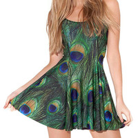 Green Abstract Print Sleeveless Skater Dress