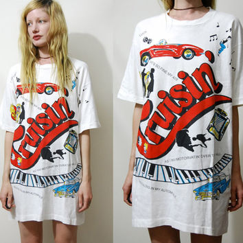 90s Vintage OVERSIZED Tshirt Graphic Print Tee Long Slouchy 1950s 50s Rockabillly Music T Shirt White vtg L