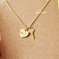 Key and Heart Lock Necklace, Chain Necklace, Hipster Necklace, Dainty Jewelry, Tiny Arrow Necklace, Gift Ideas, Holiday Gifts