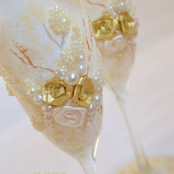 Personalized wedding flutes Wedding Toasting Glasses flûtes Champagne Flutes Idyll for wedding ceremony Wedding Glasses Bohemian glass
