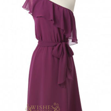 One-shoulder Grape Chiffon Knee Length Bridesmaid Dresses AM319