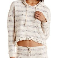 Oatmeal Fringe-Trim French Terry Hoodie by Charlotte Russe