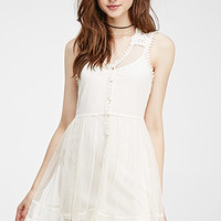Embroidered Lace Button-Back Dress