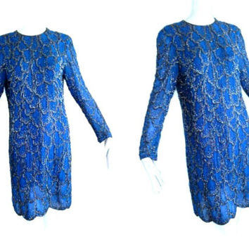 ViNtAgE Blue Silver Beaded Dress 80's 90's does 20's Wiggle flapper Cocktail Party Dress Deco Goddess Gown Holiday 6 S