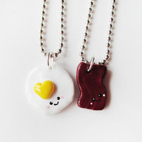 Bacon and Eggs Best Friend Necklace Set - Polymer Clay Friendship Jewelry