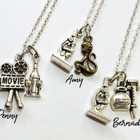 Penny / Amy / Bernadette Friendship Necklace: camera, wine, microscope, monkey and syringe charms inspired by Big Bang Theory