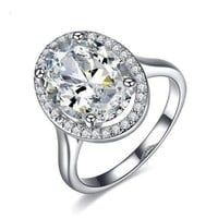 Celebrity 6 Carat Oval Engagement Ring in White Gold Plated Halo Setting Ring