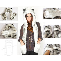 Free Shipping 1pc/Lot High Quality Crazy Fox Precious Faux Fur Hood Animal Hat With Ear Flaps and Hand Pockets 3 in 1 Function-in Skullies & Beanies from Apparel & Accessories on Aliexpress.com   Alibaba Group