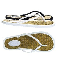 Spade by Soda, Slip On Tatami Thong Sandal w Straw Mat Insole & Colored Outsole & Strap