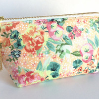 Small Makeup Bag, Peach Makeup Bag, Peach Floral Pouch, Floral Zipper Pouch, Peach Zipper Pouch