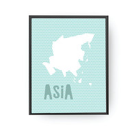Asia Dots, Map Art, Kids Print, Children Decor, Children Learning, Nursery Art, Education Poster, Continent Map Print, Typography Poster